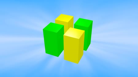 超現実的な : Green and yellow 3d cubes animation on blue background. 動画素材