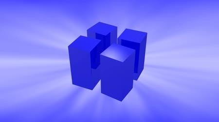 Blue 3d cubes animation with reflection on blue background.