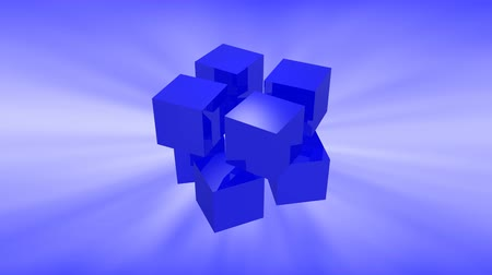 dobbelstenen : Blue 3d cubes animation with reflection on blue background.