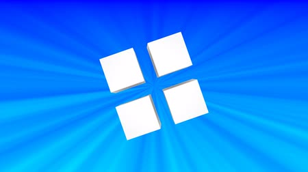 超現実的な : Top view of white 3d cubes animation on blue background.