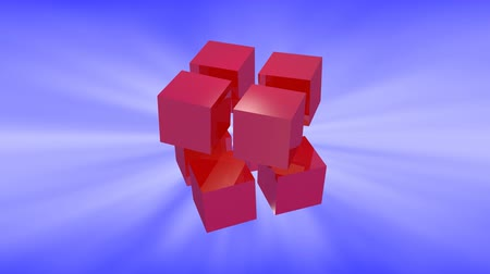 dimension : Blue 3d cubes animation with reflection on blue background.