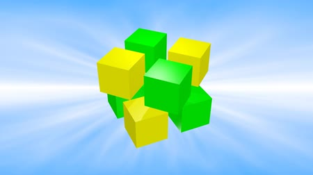 Green and yellow 3d cubes animation on blue background. Стоковые видеозаписи