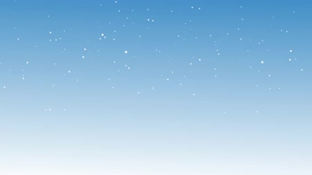 mavi gök : Motion graphic of white snow flake and blizzard falling from sky to white area - used for Winter Christmas and New Year background