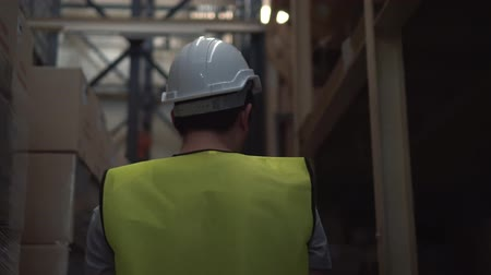 controleur : Rear view of Asian young warehouse worker man with safety hard hat walking through inventory room, checking order details Stockvideo