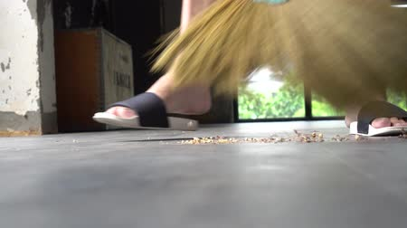 terlik : Low section of human legs wearing slippers using sweeping broom to sweep dust and dirt inside the house - cleanliness and housekeeping concept Stok Video