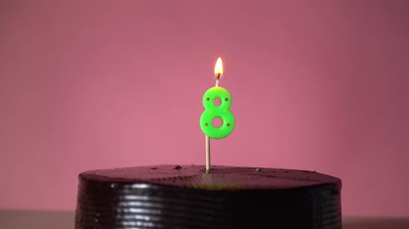 açoitado : Chocolate birthday cake on pink background with green number eight candle in middle electric lighter lighting candle making wish trying to blow out candle