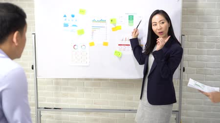 beyaz yakalı işçi : Professional Asian ethnic woman in formal wear explaining statistics charts to attentive office workers while standing by whiteboard
