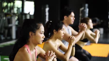squatting : Group of athletic young Asian people in sportswear doing squat and exercising at the gym. Intense workout and healthy lifestyle concept slow motion Stock Footage