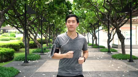 kayış : Young Asian man jogging while listening to music at park. Male fit runner doing exercise outdoors. Stok Video