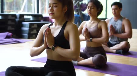 Group of Asian women and man doing pilates lying on yoga mats in aerobics class. Young sporty people on crossed legs on the floor and do namaste pose in gym studio. 動画素材