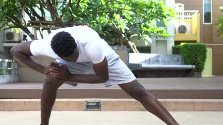 Athletic African American man in doing stretching exercise while training in park on sunny day. 動画素材