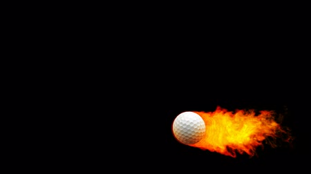 golfe : Golf fireball in flames on black background  Vídeos