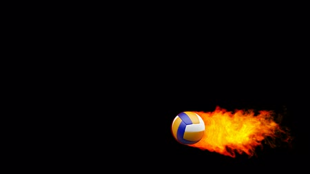 röplabda : Volleyball fireball in flames on black background