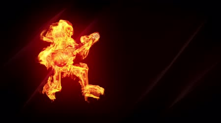 rocks red : Fiery skeleton with a guitar