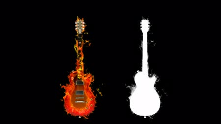 electric : fire guitar with alpha channel Stock Footage