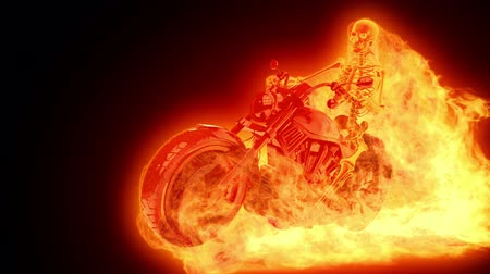 lovas : Skeleton biker on fire