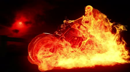 motocykl : Skeleton biker on fire