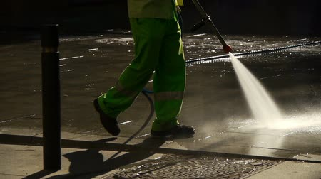 pression : Washing streets Stock Footage