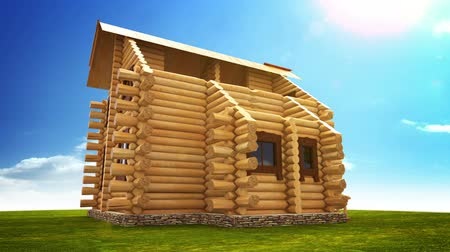 yerleşim : Animated construction of a log house