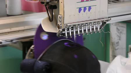 bordado : Embroidery on a cap Stock Footage