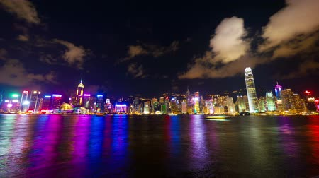 scény : Hong Kong show Symphony of Lights, time lapse