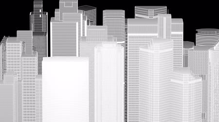 uzun boylu : Wire frame cityscape, seamless loop Stok Video