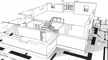 bina : Construction of residential house, wireframe Stok Video