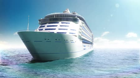 rondvaart : Cruise liner in een blauwe zee Stockvideo