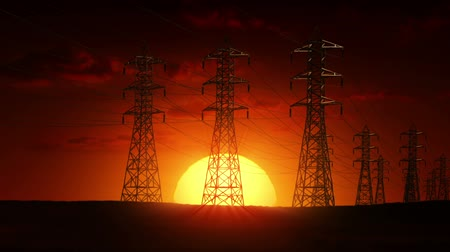 petrol : Electric power lines at sunrise