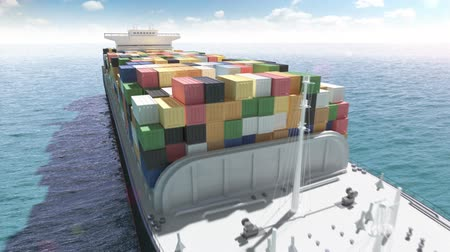 damarlar : Cargo container ship in a sea Stok Video