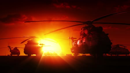 katonai : Helicopters at sunrise