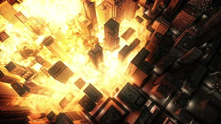 explodir : Nuclear explosion in city Stock Footage