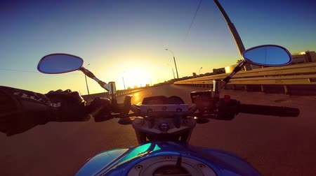 drive : Riding a motorcycle in a city of Novosibirsk Russia. Stock Footage