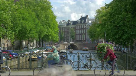 Canal in Amsterdam Holland. 4k UHD