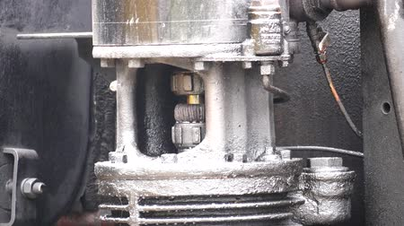 żelazko : Close Up Of Steam Engine Relief Valve Working
