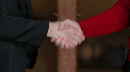 партнеры : Two business men shaking hands, close up.