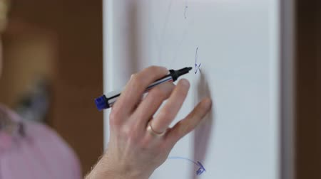 flip chart : Close-up of hand with marker writing or drawing on flip chart.