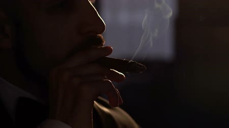 smoke kills : Silhouette of a handsome bearded man smoking a cigar, close-up. Slow motion