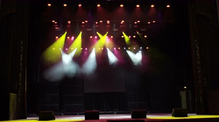 nagy felbontású : Stage Lighting Background. Stage lights. Several projectors in the dark. 4k