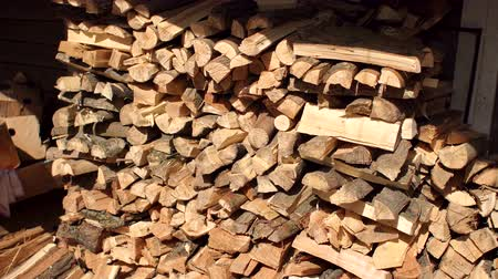 sawn : Pile of wood cut for fireplace. Close-up of chopped logs of firewood.
