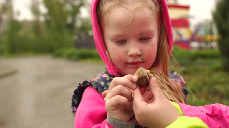 chickenpox : Little girl with chickenpox is holding a snail in a rainy day in spring Park. Two children found a snail in a rainy day.