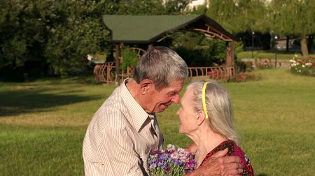 touched : Touching family couple of eighty years are stand in an embrace in the park against the backdrop of grass.