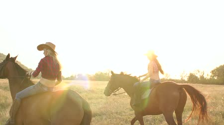 batı : Two girls are riding on restless horses in the summer in the field. Stok Video