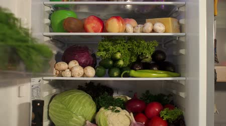 stocked : Full refrigerator of fresh food, vegetables, fruits and meat. Close-up.