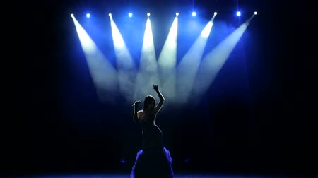 singers : Silhouette of singer standing on stage at microphone in night club. The singer in a long dress singing on stage in the dark with bright multi-colored concert lighting.