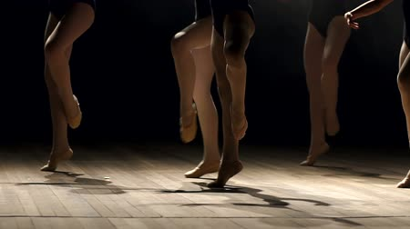 papucs : A group of young ballerina girls dancing on stage in the dark, close-up. A large group of children rehearsing and dancing the ballet.