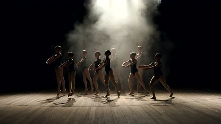 papucs : Young teen girls perform ballet on stage in smoke on black background. A choreographed dance of a group of graceful pretty young ballerinas practicing on stage in a classical ballet school.