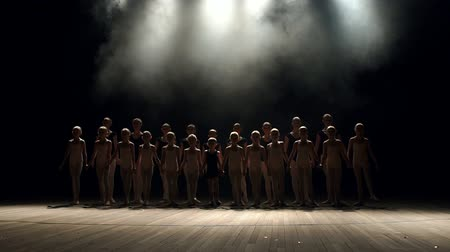go to school : A large group of children of the dancers synchronously go on stage in the dark on a black background. Group of children engaged in ballet on stage, portrait. Slow motion. Silhouette.