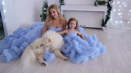 korona : A young mother and her little daughter in the same evening fluffy dresses and dog photographed in the Studio.