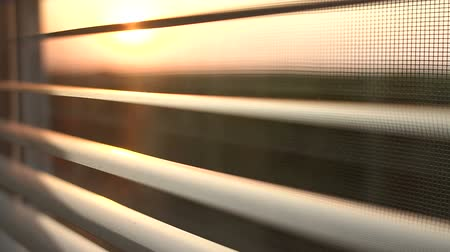 açık kahverengi : Sunrise behind the window blinds and mosquito net. Rising sun behind window blinds. Sunlight behind vertical blinds. Stok Video